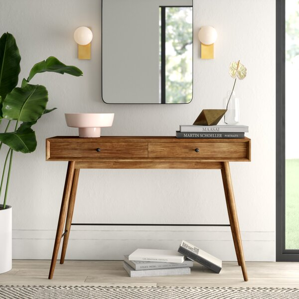 Tremendous Modern Contemporary Console Table With Stools Allmodern Lamtechconsult Wood Chair Design Ideas Lamtechconsultcom