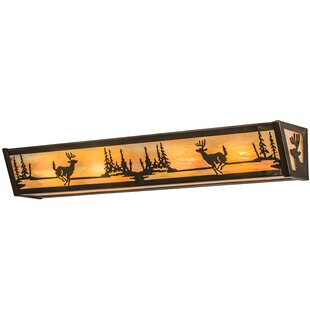 Meyda Tiffany Greenbriar Oak Deer at Lake 4-Light Bath Bar