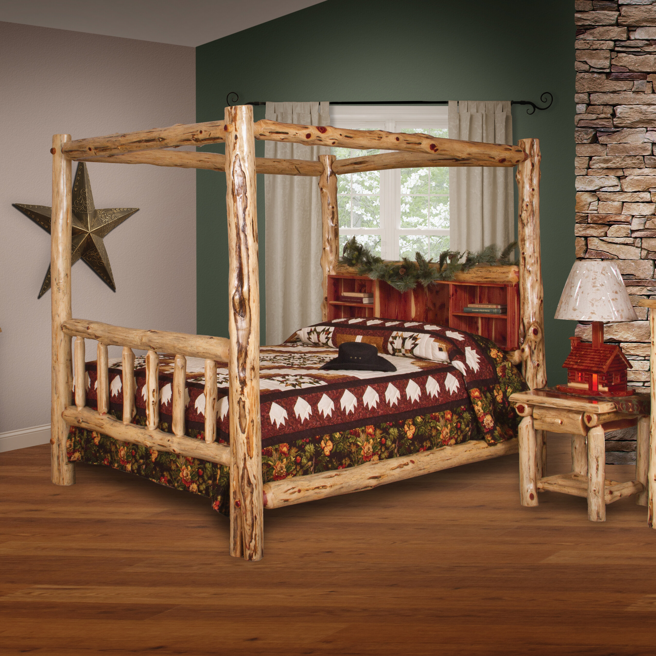 Picture of: Loon Peak Tulane Red Cedar Log Canopy Bed