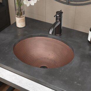 René By Elkay Single Bowl Copper Oval Vessel Bathroom Sink With Drain Assembly