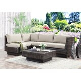 Mulford Outdoor 3 Piece Rattan Sectional Seating Group with Cushions by Bloomsbury Market