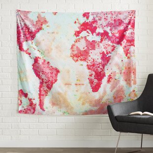 World map tapestries youll love oh the places well go by alison coxon wall tapestry gumiabroncs Image collections