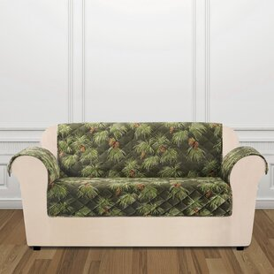 Lodge Pinecone Box Cushion Loveseat Slipcover