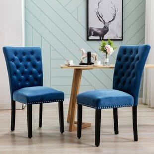 Amdan Tufted Velvet Upholstered Parsons Chair Set of 2