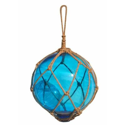 """Japanese Glass Ball Fishing Float Wall Décor Color: Light Blue / Brown, Size: 16"""" H x 12"""" W x 12"""" D"""