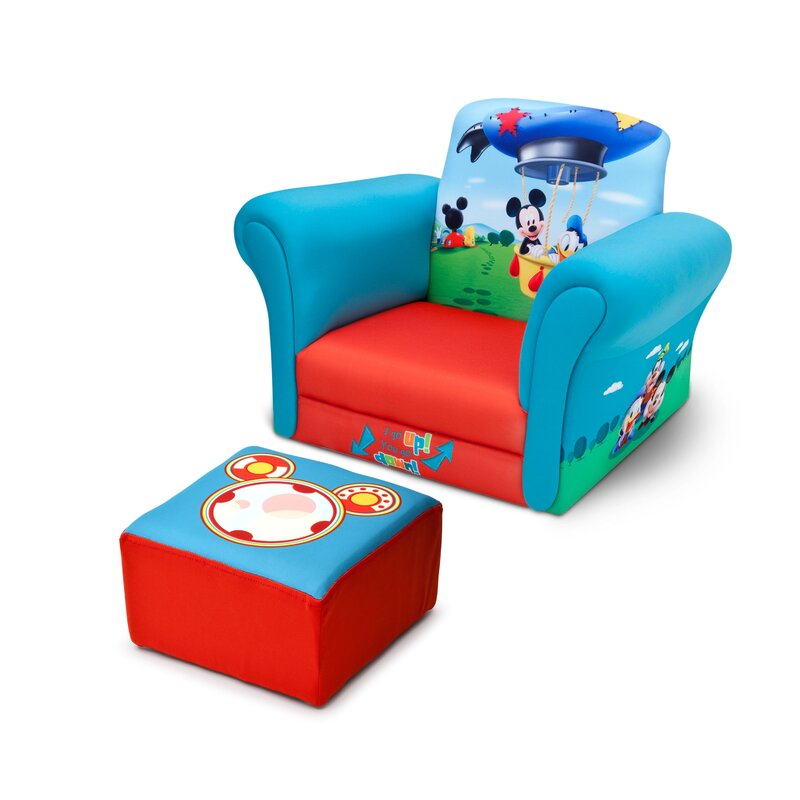 Marvelous Mickey Mouse Upholstered Kids Club Chair And Ottoman
