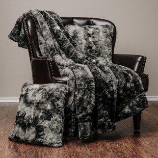 Trio Super Soft Fuzzy Faux Fur Throw Blanket and 2 Pillow Set byLatitude Run