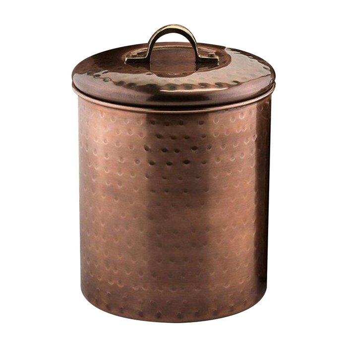 Nusteel Hammered Antique Copper 1 Qt Stainless Steel Canister, Beautiful  Food Storage Container For Kitchen Counter, Tea, Sugar, Coffee, Caddy,  Flour ...