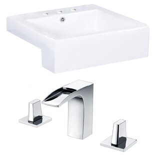 Xena Farmhouse Semi-Recessed Ceramic Rectangular Vessel Bathroom Sink with Faucet and Overflow ByRoyal Purple Bath Kitchen