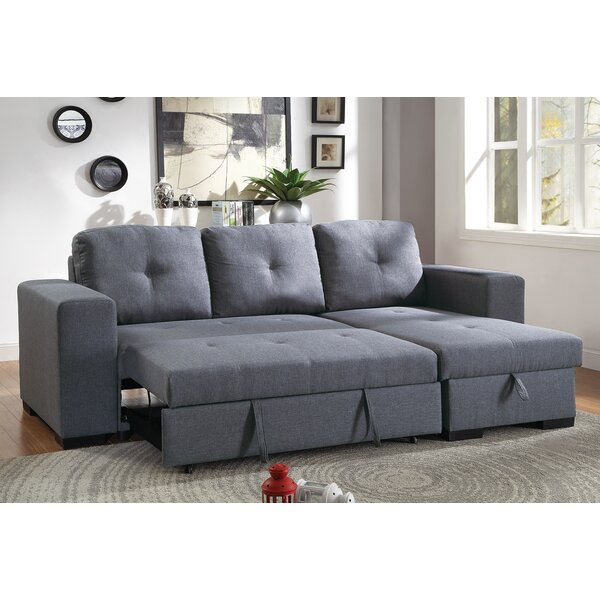 Ivy Bronx Buchman Linen Like Reversible Sectional With Pull Out Bed Reviews Wayfair Ca