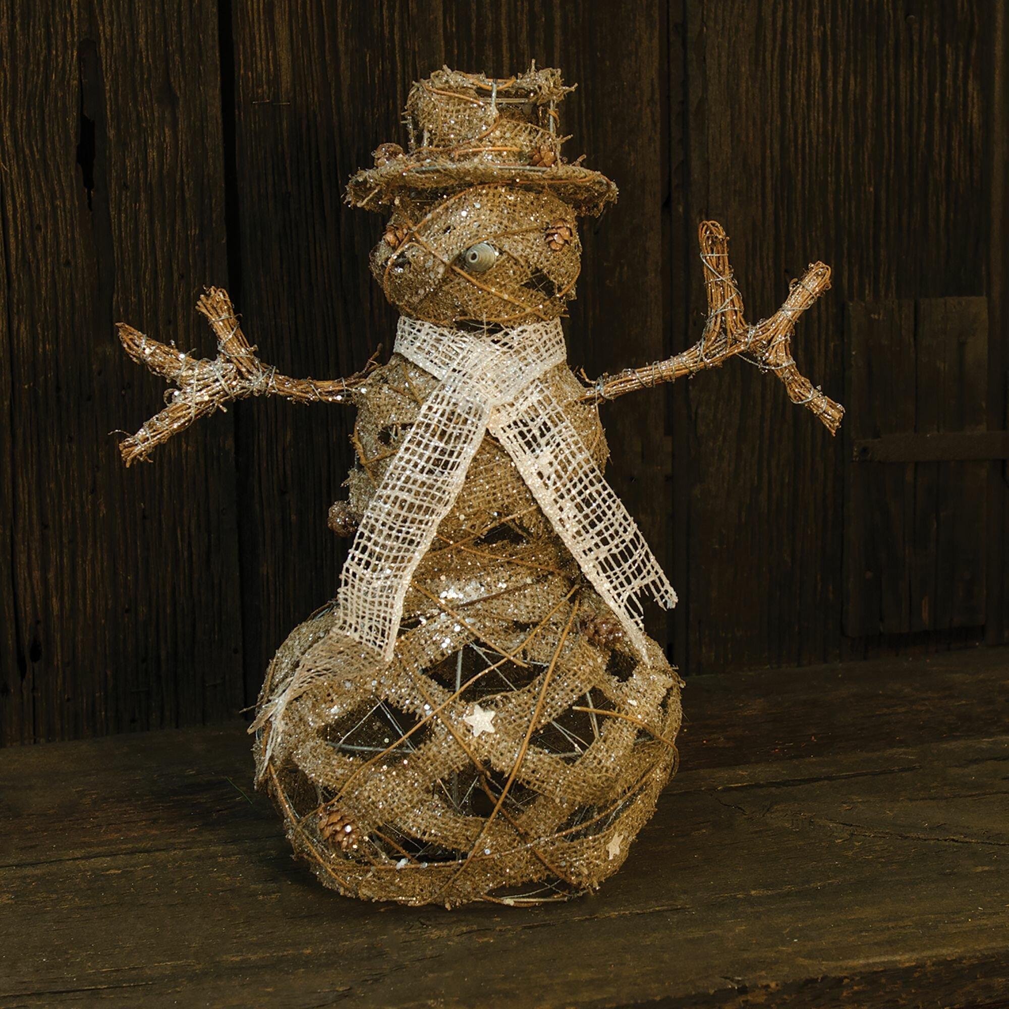The Holiday Aisle Rattan And Jute Snowman Wayfair