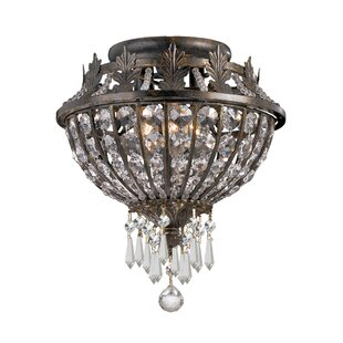 Markenfield Crystal 3-Light Semi Flush Mount by Astoria Grand