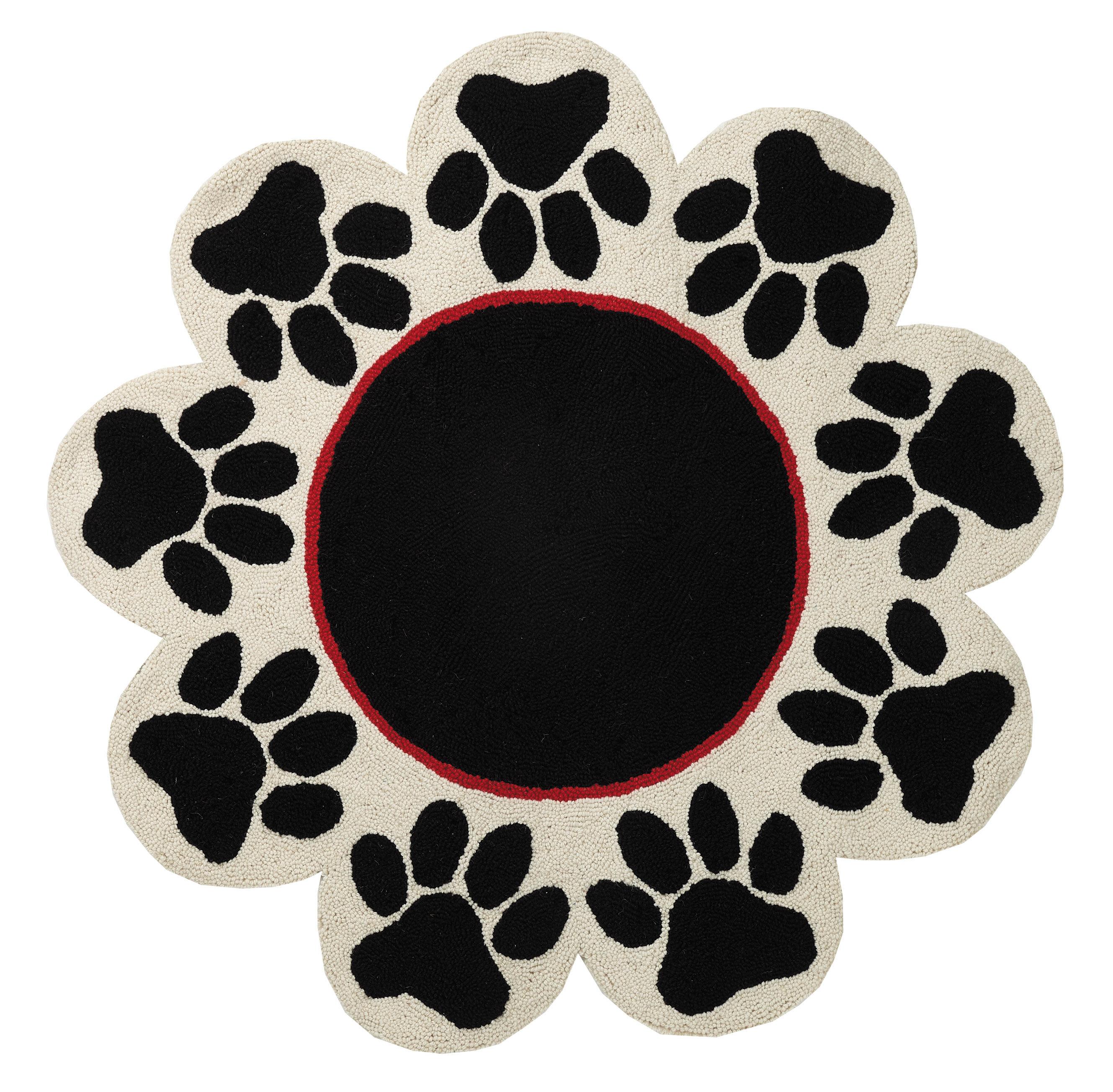 Rizo Paw Prints Round Shaped Hand Hooked Wool Black White Area Rug