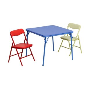 Best Deals River Folding Kids 3 Piece Writing Table and Chair Set ByZoomie Kids
