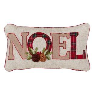 Shaw Christmas Noel Plaid Lumbar Pillow