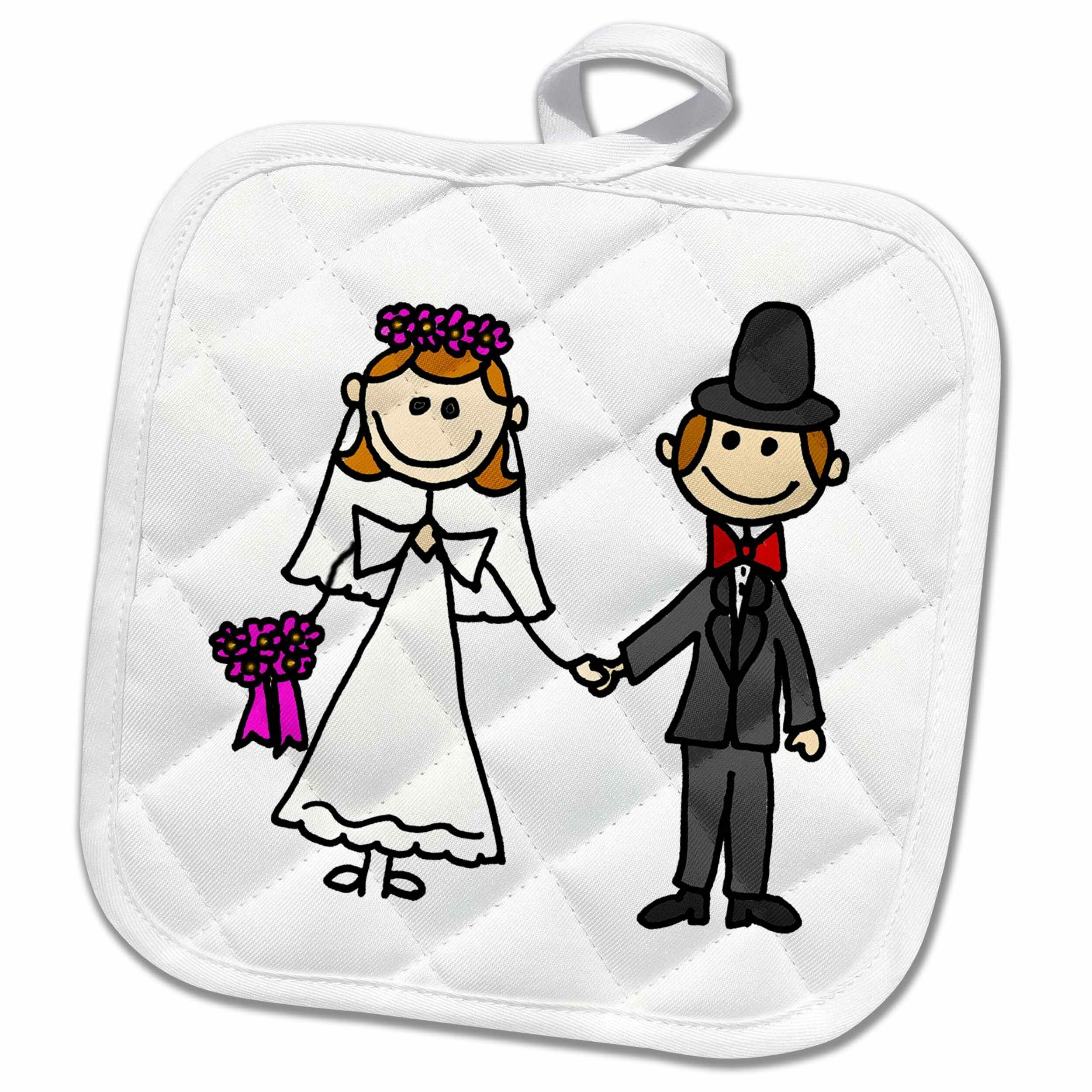 3drose Funny Stick Figure Wedding Bride And Groom Potholder Wayfair Ca