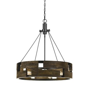 Williston Forge Eastman Metal/Wood 6-Light Drum Chandelier