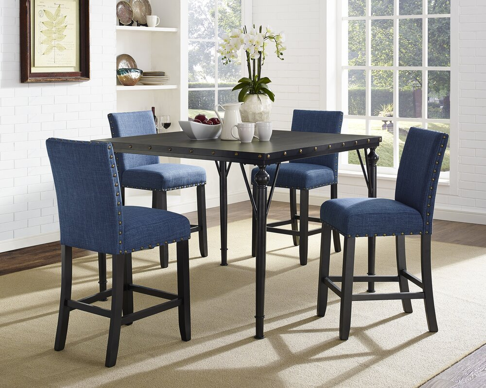 Amy Wood Counter Height 5 Piece Dining Set With Fabric Nailhead Chairs