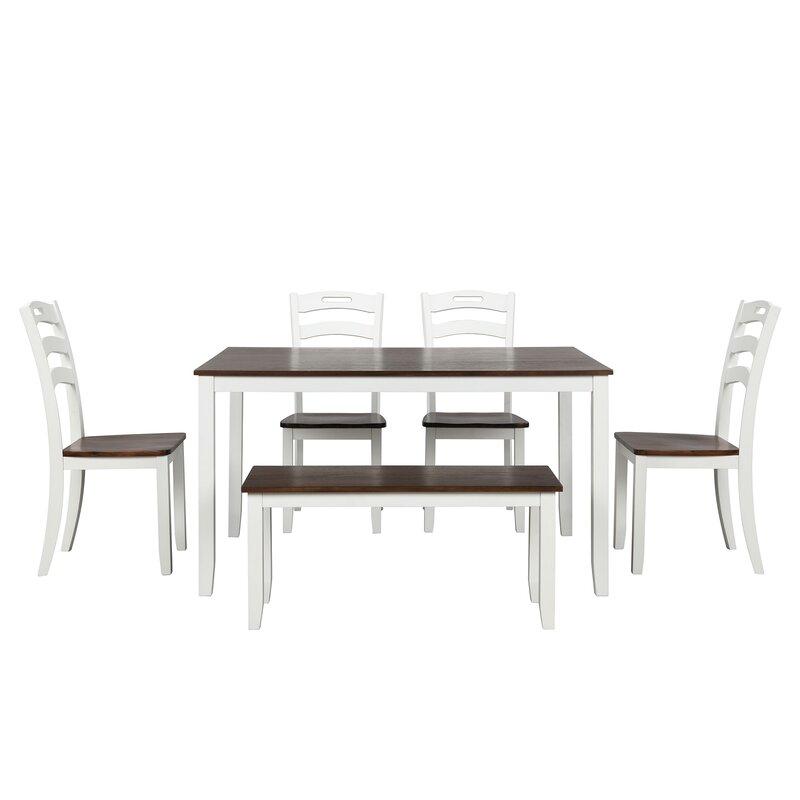 August Grove Zakariyah 6 Piece Dining Table Set Wayfair
