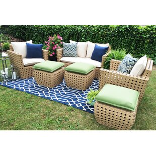AE Outdoor Bethany 6 Piece Sunbrella Sofa Set with Cushions