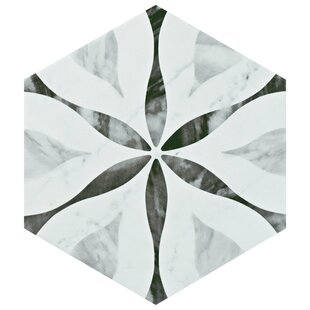 Review Karra Hexagon 7 x 8 Porcelain Field Tile in White/Black by EliteTile