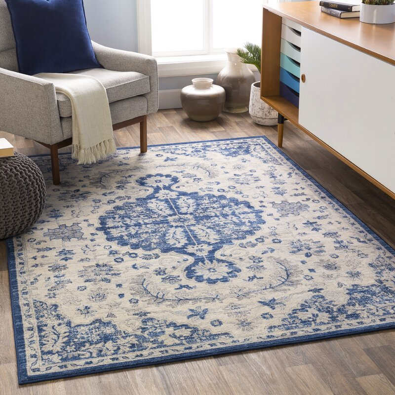 Bungalow Rose Brownlow Distressed Traditional Blue Beige Area Rug Reviews Wayfair