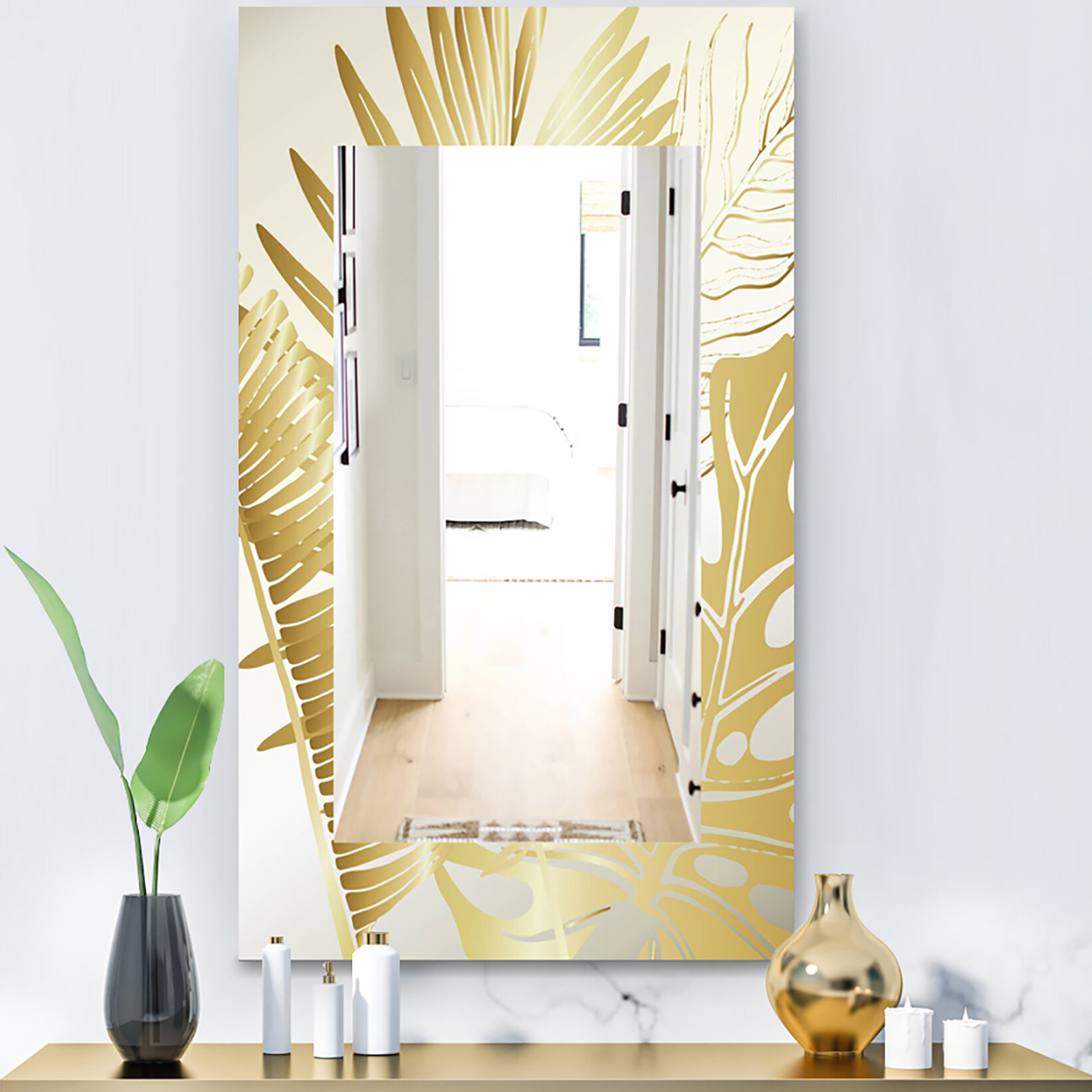 East Urban Home Capital Botanical Bliss Glam Vanity Mirror Wayfair