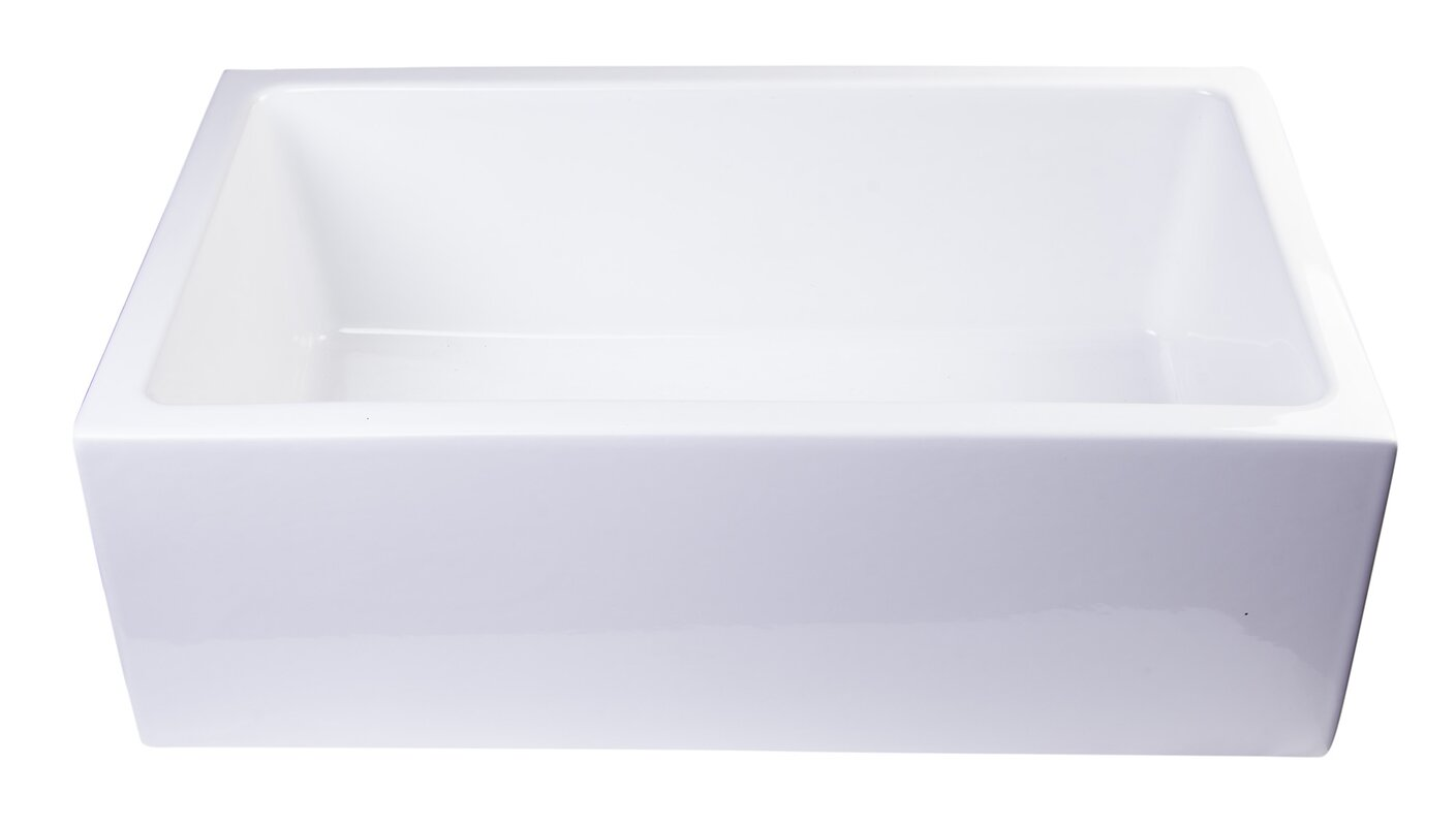 "30"" x 18"" Thick Wall Fireclay Single Bowl Farmhouse Kitchen Sink"