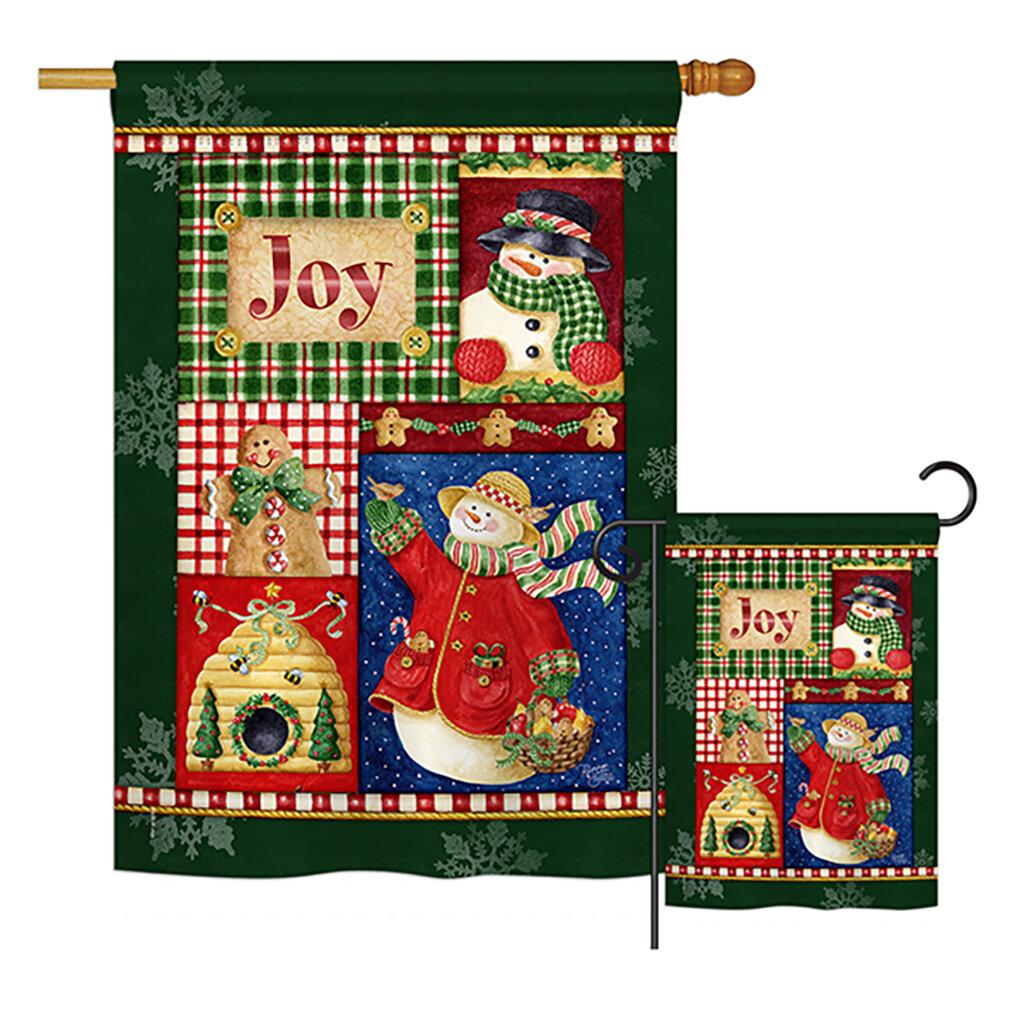 Breeze Decor Joy Snow Woman Winter Christmas Impressions 2 Sided Polyester 40 X 28 In Flag Set Wayfair Ca