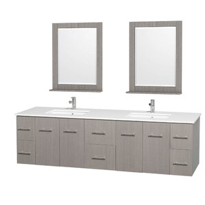 Centra 80  Double Gray Oak Bathroom Vanity Set with Mirror Modern Vanities Cabinets AllModern