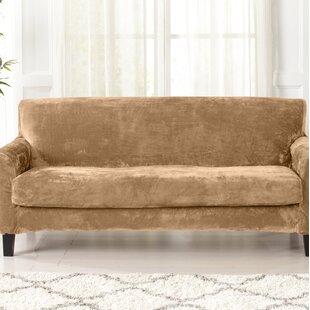Velvet Plush Box Cushion Sofa Slipcover By Canora Grey