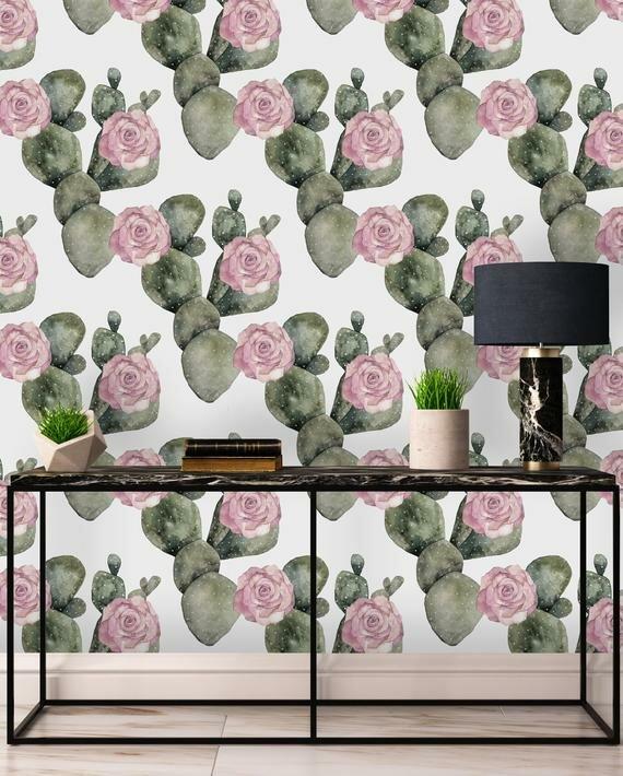 Bungalow Rose Joann Removable Cactus 8 33 L X 25 W Peel And Stick Wallpaper Roll Wayfair