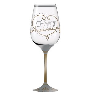 Poitier Happy Anniversary 12 oz. Crystal Stemmed Wine Glass