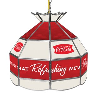 Trademark Global Coca Cola Arc Stained Glass 1-Light Pool Table Lights Pendant