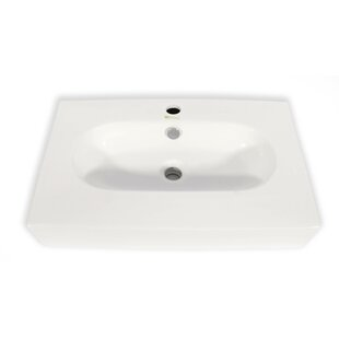 Price Check Ice Cream Ceramic Rectangular Vessel Bathroom Sink with Overflow By Hispania Home