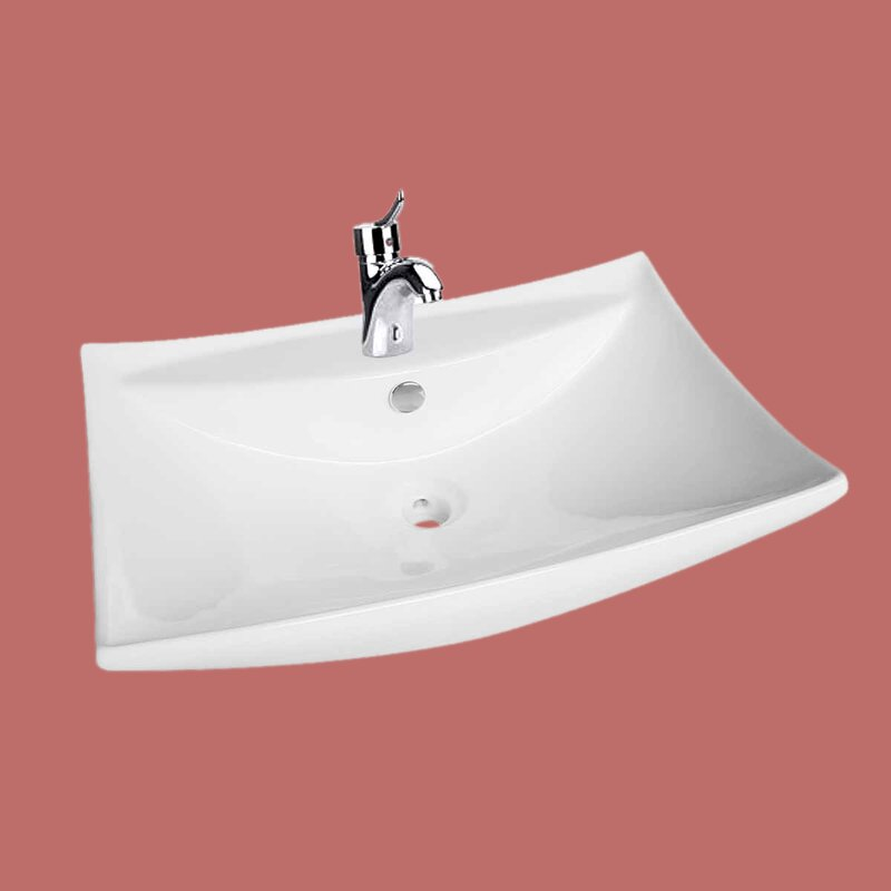 The Renovators Supply Inc. Above Counter Deluxe Shanta Design Vitreous China Square Vessel Bathroom Sink with Overflow