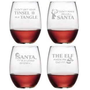 Hijinks 4-Piece Stemless Wine Glass Set (Set of 4)