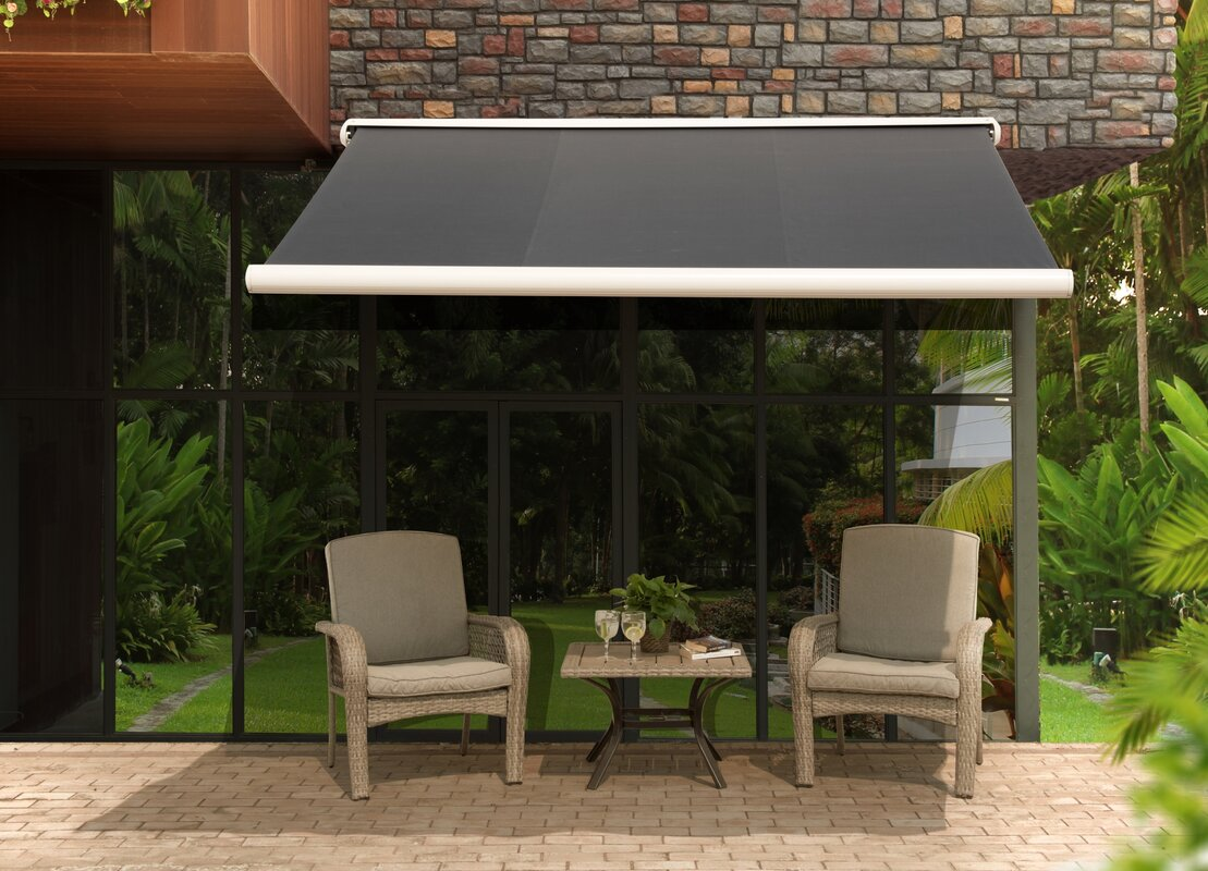 D Retractable Patio Awning & Sunjoy Sunjoy 10 ft. W x 8 ft. D Retractable Patio Awning ...