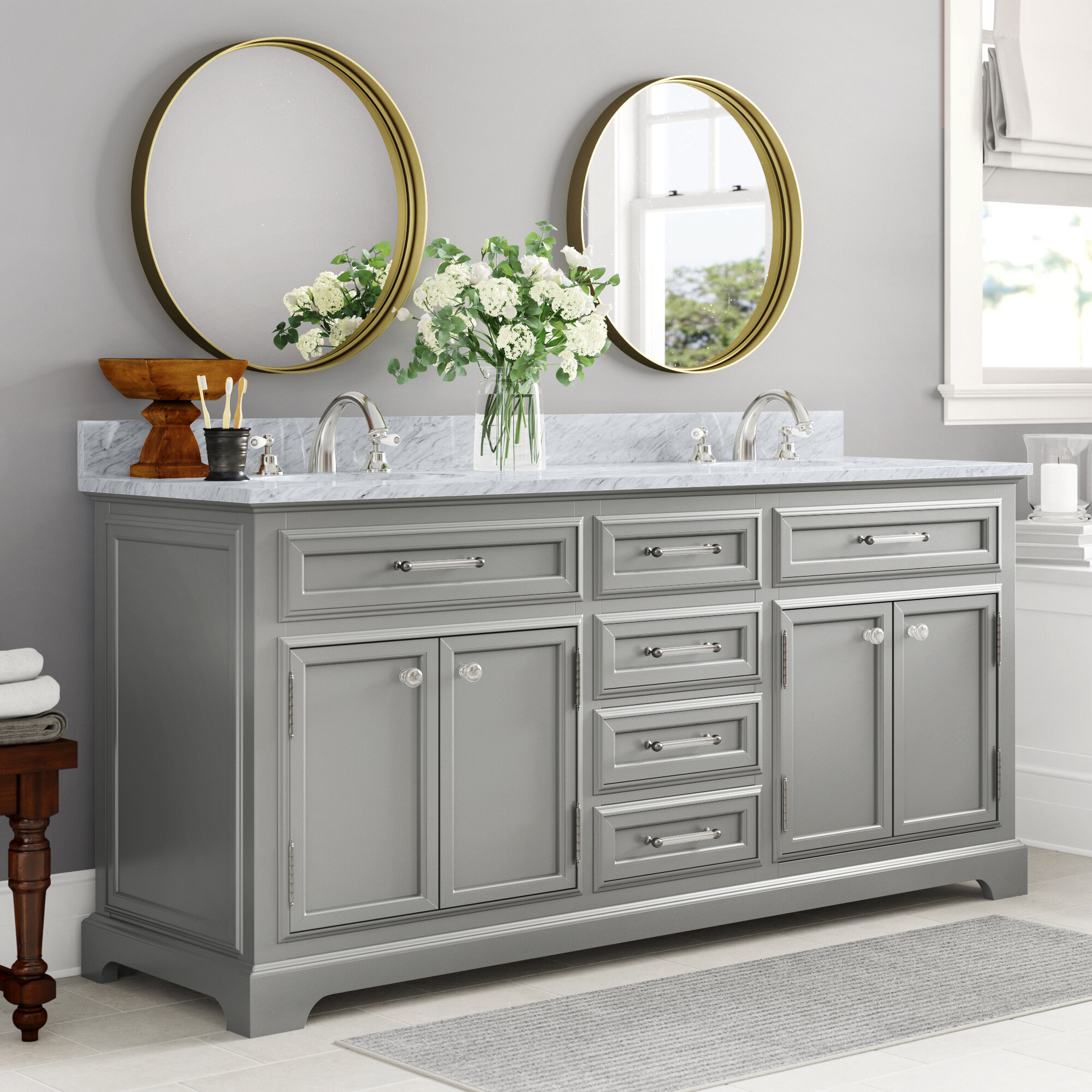 Three Posts Dovercourt 72 Double Bathroom Vanity Set Reviews Wayfair