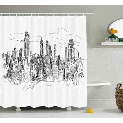 Blondelle Sketchy NYC Cityscape Shower Curtain