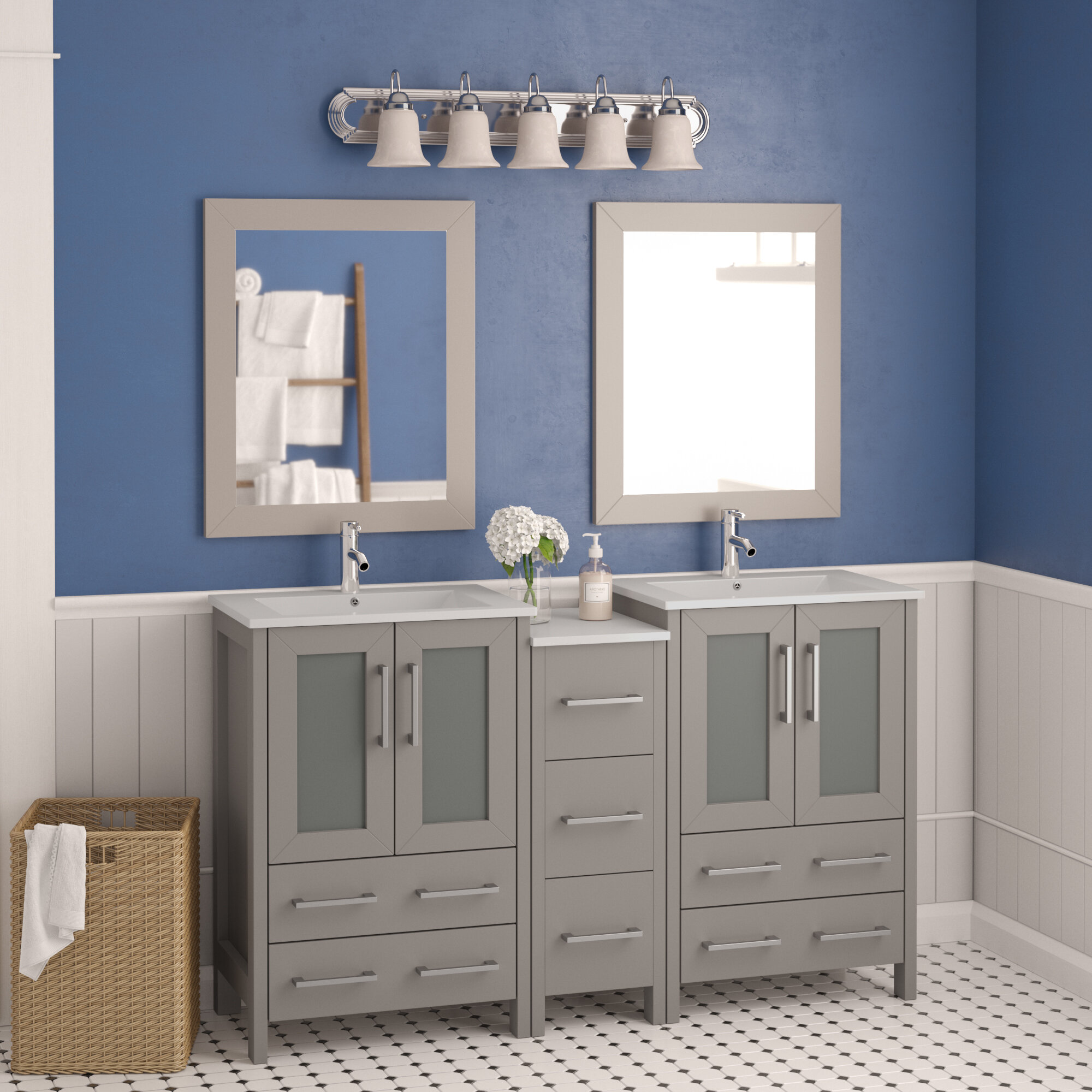 Wade Logan Karson 60 Double Bathroom Vanity Set With Mirror Reviews Wayfair Ca