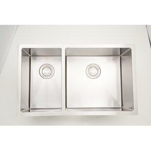 32 X 18 Double Basin Undermount Kitchen Sink with 18 Gauge