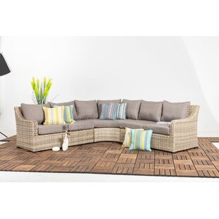 Crum 3 Piece Rattan Sectional Seating Group with Cushions
