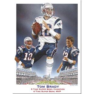 Darryl Vlasak 'Tom Brady 5 Time Super Bowl Champion 4 Time Super Bowl MVP' on Canvas ByBuy Art For Less
