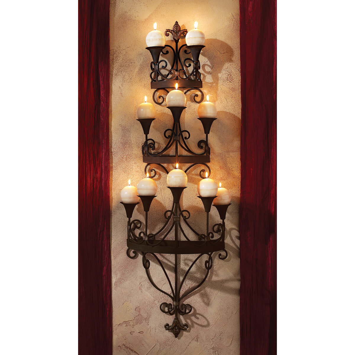 "2 Set of 28/"" H Bronze Hue Filagree Fleur Outdoor Indoor Hanging Wall Sconce"