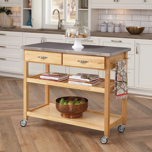 Kitchen Island alcott hill drumtullagh kitchen island with stainless steel top