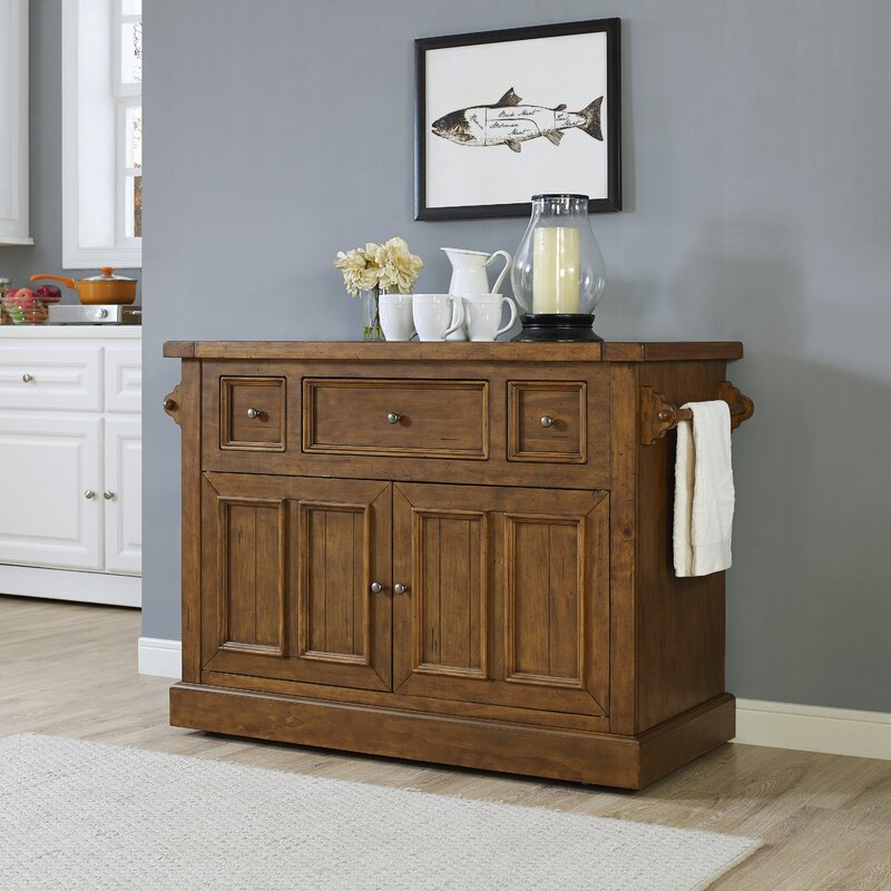 Charming Ordway Kitchen Island With Marble Top