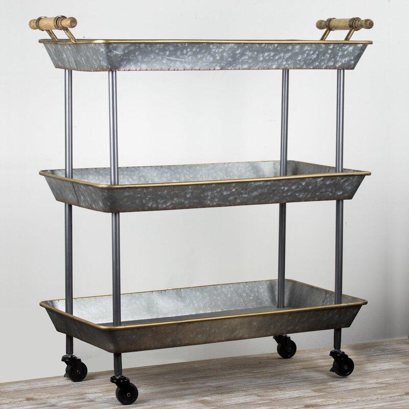 Lurie 3 Tier Galvanized Metal Shelf On Wheels Bar Cart