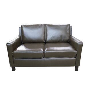 Sereno Standard Leather Loveseat by Loon ..
