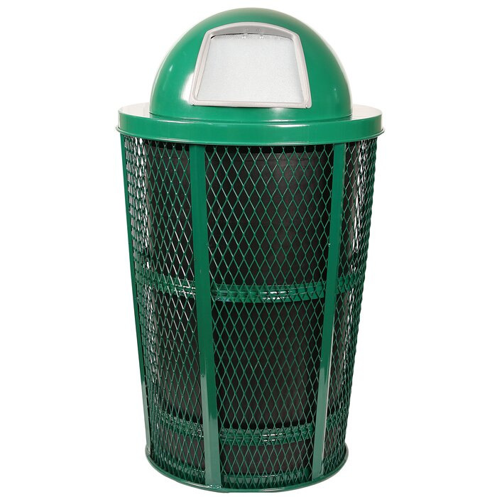 Expanded Basket Receptacle Metal 48 Gallon Trash Can